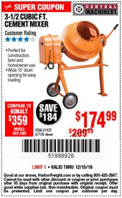 Harbor Freight Coupon 3-1/2 CUBIC FT. CEMENT MIXER Lot No. 67536/61932 Expired: 12/15/19 - $174.99