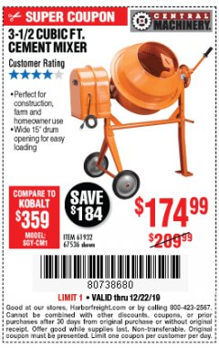 Harbor Freight Coupon 3-1/2 CUBIC FT. CEMENT MIXER Lot No. 67536/61932 Expired: 12/22/19 - $174.99