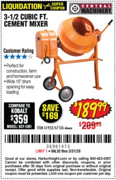 Harbor Freight Coupon 3-1/2 CUBIC FT. CEMENT MIXER Lot No. 67536/61932 Expired: 3/31/20 - $189.99