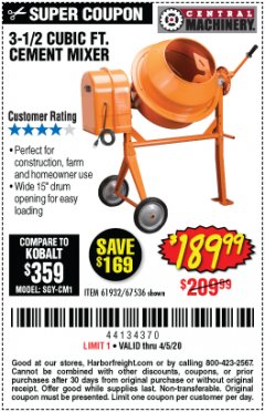 Harbor Freight Coupon 3-1/2 CUBIC FT. CEMENT MIXER Lot No. 67536/61932 Expired: 6/30/20 - $189.99