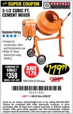 Harbor Freight Coupon 3-1/2 CUBIC FT. CEMENT MIXER Lot No. 67536/61932 Expired: 6/30/20 - $179.99