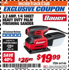 Harbor Freight ITC Coupon 2.2 AMP 1/4 SHEET HEAVY DUTY PALM FINISHING SANDER Lot No. 64146 Expired: 9/30/19 - $19.99