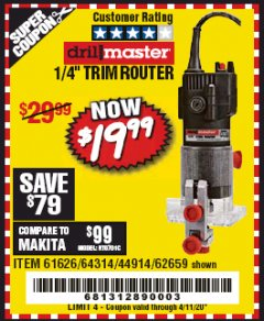 "Harbor Freight Coupon 1/4"" TRIM ROUTER Lot No. 61626/62659/44914 EXPIRES: 6/30/20 - $19.99"