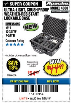 Harbor Freight Coupon APACHE 4800 WEATHERPROOF CASE Lot No. 64250 Expired: 9/30/18 - $44.99
