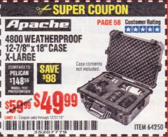 Harbor Freight Coupon APACHE 4800 WEATHERPROOF CASE Lot No. 64250 Expired: 12/31/18 - $49.99