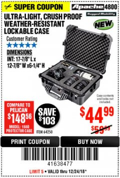 Harbor Freight Coupon APACHE 4800 WEATHERPROOF CASE Lot No. 64250 Expired: 12/24/18 - $44.99