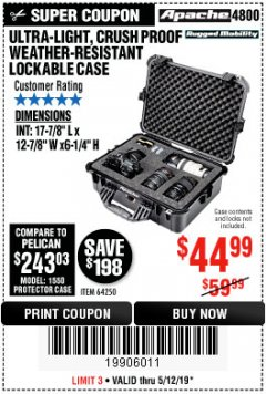 Harbor Freight Coupon APACHE 4800 WEATHERPROOF CASE Lot No. 64250 Expired: 5/12/19 - $44.99