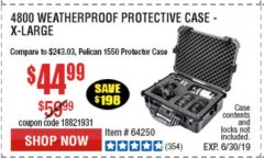 Harbor Freight Coupon APACHE 4800 WEATHERPROOF CASE Lot No. 64250 Expired: 6/30/19 - $44.99
