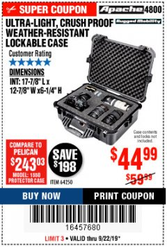 Harbor Freight Coupon APACHE 4800 WEATHERPROOF CASE Lot No. 64250 Expired: 9/22/19 - $44.99