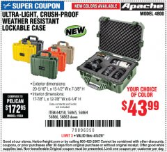 Harbor Freight Coupon APACHE 4800 WEATHERPROOF CASE Lot No. 64250 Expired: 6/30/20 - $43.99