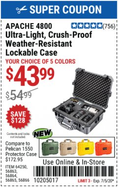 Harbor Freight Coupon APACHE 4800 WEATHERPROOF CASE Lot No. 64250 Expired: 7/5/20 - $43.99