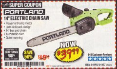 "Harbor Freight Coupon 14"" ELECTRIC CHAIN SAW Lot No. 64497/64498 Expired: 10/31/19 - $39.99"