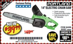"Harbor Freight Coupon 14"" ELECTRIC CHAIN SAW Lot No. 64497/64498 Expired: 11/2/19 - $39.99"