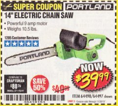 "Harbor Freight Coupon 14"" ELECTRIC CHAIN SAW Lot No. 64497/64498 Expired: 11/30/19 - $39.99"