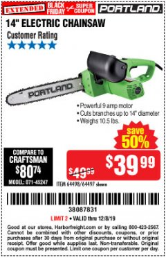 "Harbor Freight Coupon 14"" ELECTRIC CHAIN SAW Lot No. 64497/64498 Expired: 12/8/19 - $39.99"