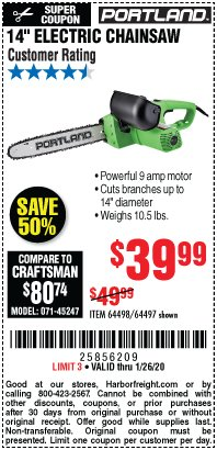 "Harbor Freight Coupon 14"" ELECTRIC CHAIN SAW Lot No. 64497/64498 Expired: 1/26/20 - $39.99"