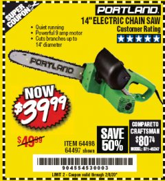 "Harbor Freight Coupon 14"" ELECTRIC CHAIN SAW Lot No. 64497/64498 Expired: 2/8/20 - $39.99"