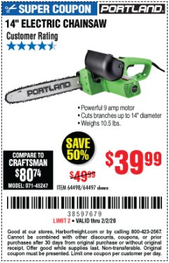 "Harbor Freight Coupon 14"" ELECTRIC CHAIN SAW Lot No. 64497/64498 Expired: 2/2/20 - $39.99"