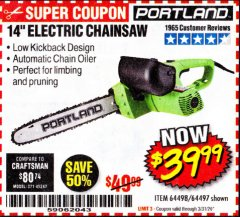 "Harbor Freight Coupon 14"" ELECTRIC CHAIN SAW Lot No. 64497/64498 Expired: 3/31/20 - $39.99"