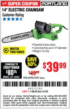 "Harbor Freight Coupon 14"" ELECTRIC CHAIN SAW Lot No. 64497/64498 Expired: 3/1/20 - $39.99"