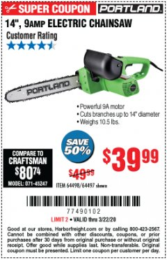"Harbor Freight Coupon 14"" ELECTRIC CHAIN SAW Lot No. 64497/64498 Expired: 3/15/20 - $39.99"