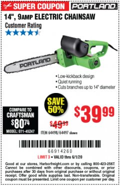 "Harbor Freight Coupon 14"" ELECTRIC CHAIN SAW Lot No. 64497/64498 Expired: 6/30/20 - $39.99"
