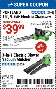 "Harbor Freight Coupon 14"" ELECTRIC CHAIN SAW Lot No. 64497/64498 Valid Thru: 8/31/20 - $39.99"