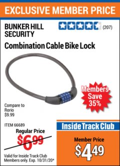 Harbor Freight ITC Coupon COMBINATION CABLE BIKE LOCK Lot No. 66689 Expired: 10/31/20 - $4.49
