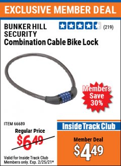 Harbor Freight ITC Coupon COMBINATION CABLE BIKE LOCK Lot No. 66689 Expired: 2/25/21 - $4.49