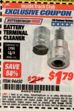 Harbor Freight ITC Coupon BATTERY TERMINAL CLEANER Lot No. 94450 Expired: 7/31/19 - $1.99