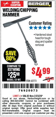 Harbor Freight Coupon WELDING / CHIPPING HAMMER Lot No. 63773 Valid: 2/11/20 - 2/23/20 - $4.99