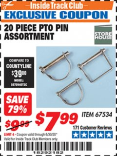 Harbor Freight ITC Coupon 20 PIECE PTO PIN ASSORTMENT Lot No. 67534 Dates Valid: 12/31/69 - 6/30/20 - $7.99