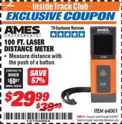 Harbor Freight ITC Coupon 100FT. LASER DISTANCE METER Lot No. 64001 Expired: 2/29/20 - $29.99