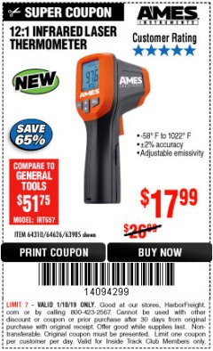 Harbor Freight ITC Coupon 12:1 INFRARED LASER THERMOMETER Lot No. 64310/64626/63985 Expired: 1/10/19 - $17.99