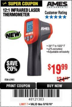 Harbor Freight Coupon 12:1 INFRARED LASER THERMOMETER Lot No. 64310/64626/63985 Expired: 9/16/18 - $19.99