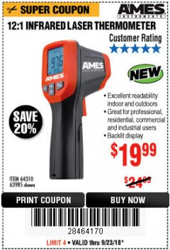 Harbor Freight Coupon 12:1 INFRARED LASER THERMOMETER Lot No. 64310/64626/63985 Expired: 9/23/18 - $19.99