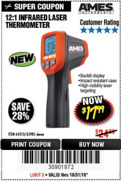 Harbor Freight Coupon 12:1 INFRARED LASER THERMOMETER Lot No. 64310/64626/63985 Expired: 10/31/18 - $17.99