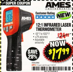 Harbor Freight Coupon 12:1 INFRARED LASER THERMOMETER Lot No. 64310/64626/63985 Expired: 11/30/18 - $17.99