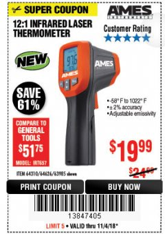 Harbor Freight Coupon 12:1 INFRARED LASER THERMOMETER Lot No. 64310/64626/63985 Expired: 11/4/18 - $19.99