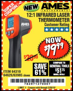 Harbor Freight Coupon 12:1 INFRARED LASER THERMOMETER Lot No. 64310/64626/63985 Expired: 3/30/19 - $19.99