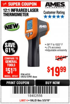 Harbor Freight Coupon 12:1 INFRARED LASER THERMOMETER Lot No. 64310/64626/63985 Expired: 3/3/19 - $19.99