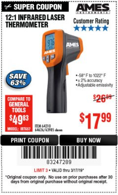Harbor Freight Coupon 12:1 INFRARED LASER THERMOMETER Lot No. 64310/64626/63985 Expired: 3/17/19 - $17.99