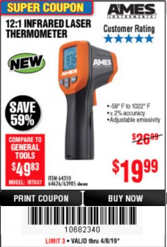 Harbor Freight Coupon 12:1 INFRARED LASER THERMOMETER Lot No. 64310/64626/63985 Expired: 4/8/19 - $19.99