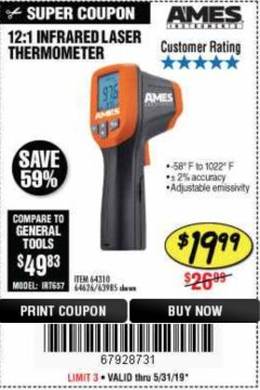 Harbor Freight Coupon 12:1 INFRARED LASER THERMOMETER Lot No. 64310/64626/63985 Expired: 5/31/19 - $19.99