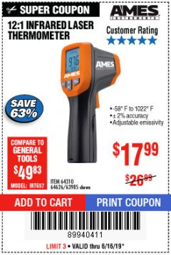 Harbor Freight Coupon 12:1 INFRARED LASER THERMOMETER Lot No. 64310/64626/63985 Expired: 6/16/19 - $17.99