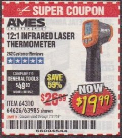 Harbor Freight Coupon 12:1 INFRARED LASER THERMOMETER Lot No. 64310/64626/63985 Expired: 7/31/19 - $19.99
