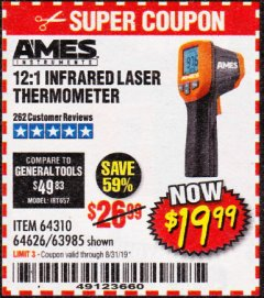 Harbor Freight Coupon 12:1 INFRARED LASER THERMOMETER Lot No. 64310/64626/63985 Expired: 8/31/19 - $19.99