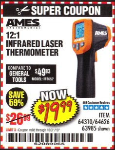Harbor Freight Coupon 12:1 INFRARED LASER THERMOMETER Lot No. 64310/64626/63985 Expired: 10/31/19 - $19.99