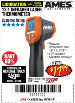 Harbor Freight Coupon 12:1 INFRARED LASER THERMOMETER Lot No. 64310/64626/63985 Expired: 10/31/19 - $17.99