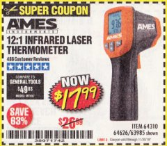 Harbor Freight Coupon 12:1 INFRARED LASER THERMOMETER Lot No. 64310/64626/63985 Expired: 11/30/19 - $17.99